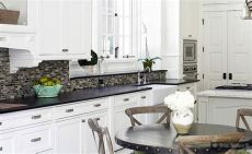 black granite white cabinet glass tile idea backsplash kitchen backsplash products ideas - Backsplash Ideas For White Cabinets And Black Granite Countertops
