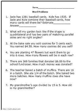 practice elementary math skills word problems math word