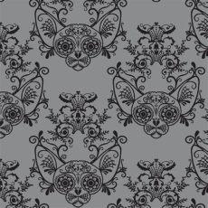 sugar skull damask wallpaper sugar skull sphynx cat damask grey fabric glamourpuss spoonflower