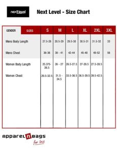 next level apparel size chart next level fit guide - Next Jacket Size Guide