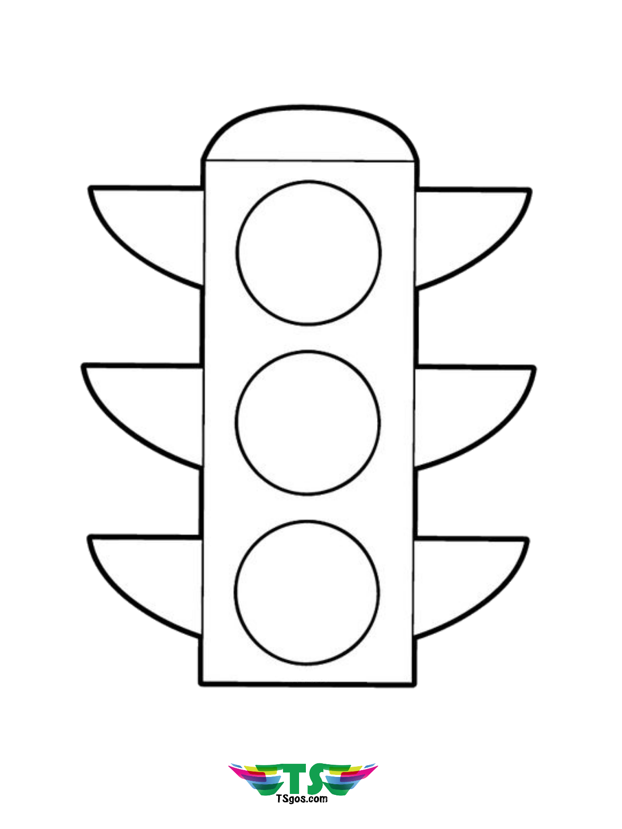 Traffic Light Coloring Page For Kindergarten