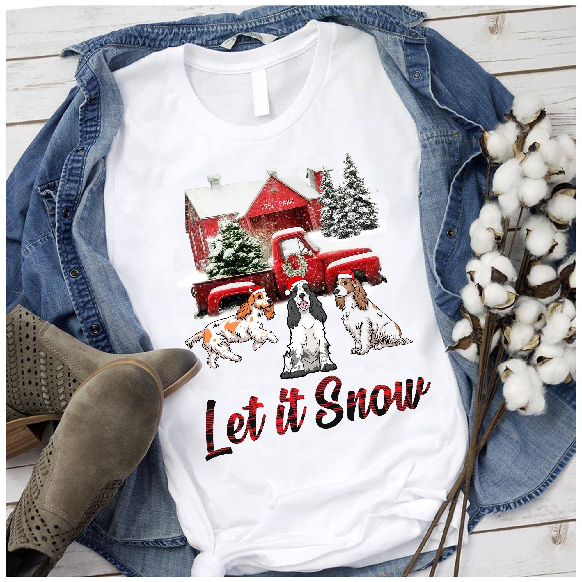 Let It Snow English Cocker Spaniel Christmas T Shirt 100% Cotton