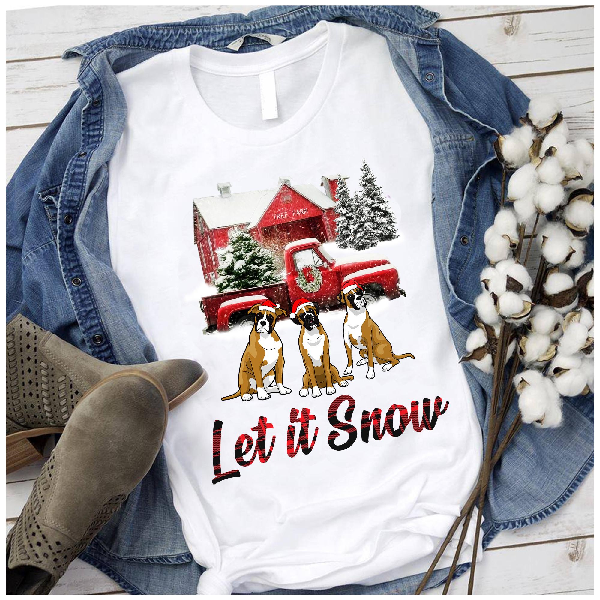 Let It Snow Boxer dog Christmas T shirt 100% cotton