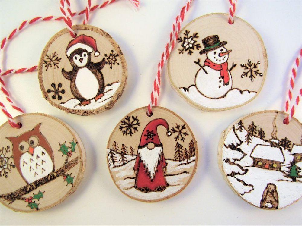 wood-burned-snowman-Christmas-ornaments