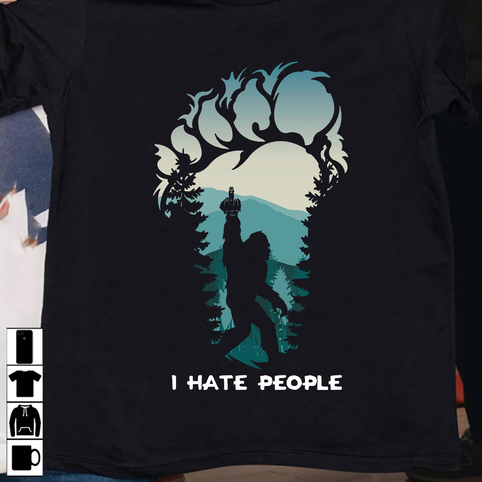 Navy Bigfoot Shirt I Hate People Camping Hunting
