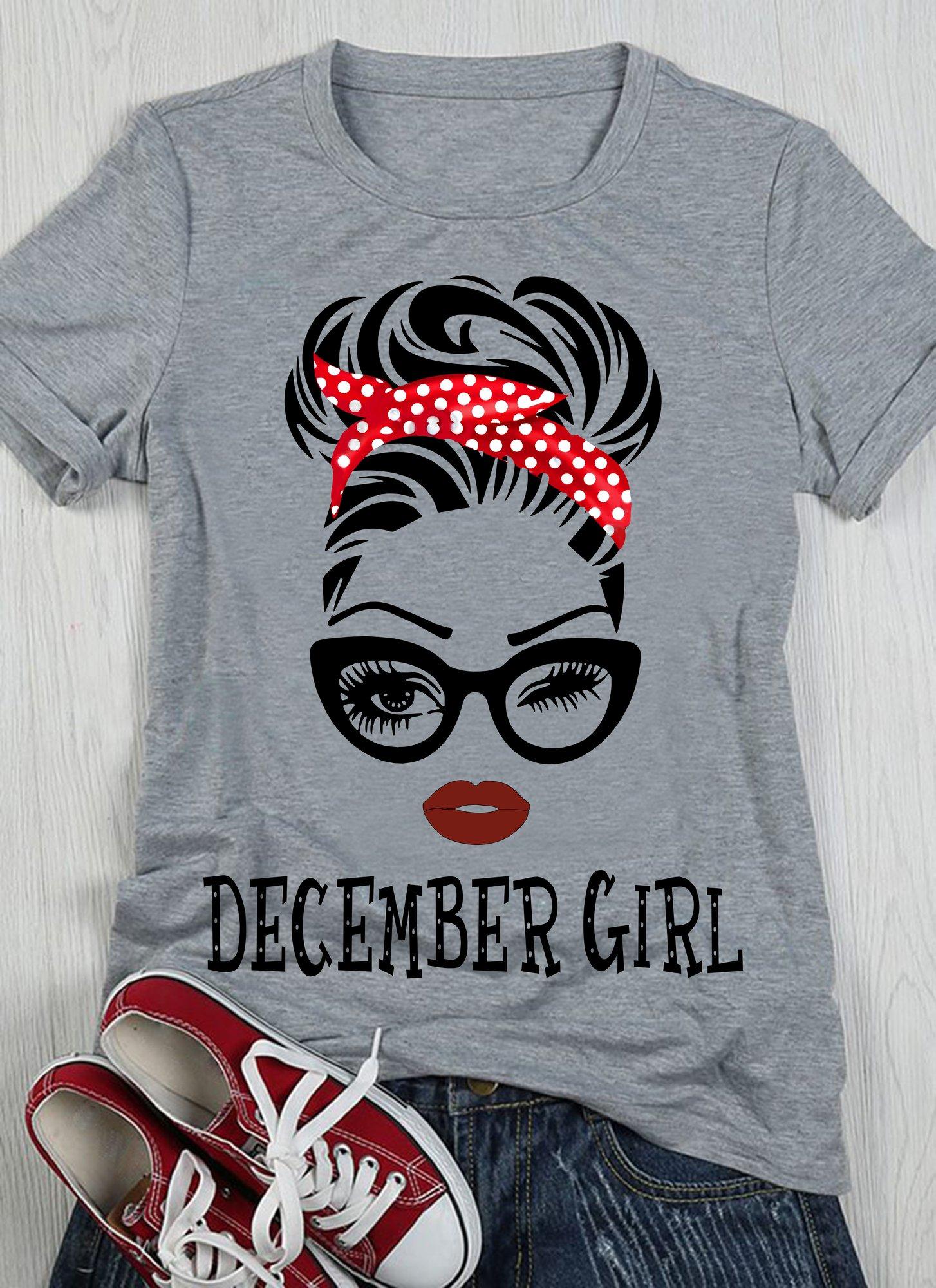 December Girl Shirt Girl Glasses White Dots Red Headband