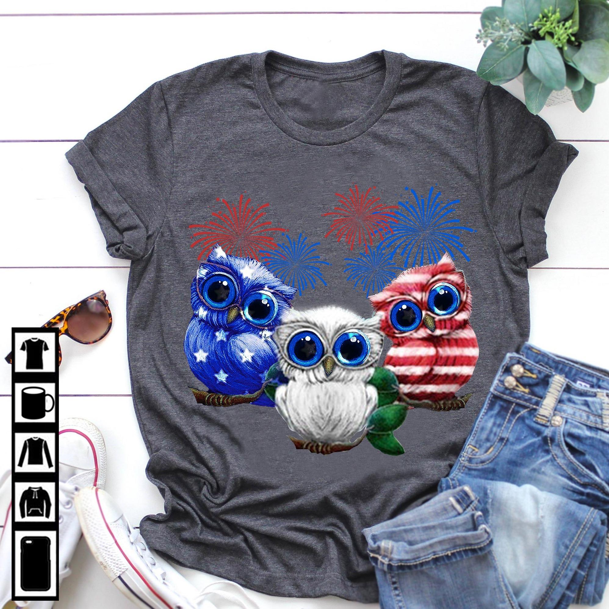 Firework Owl Shirt Independence Day America Flag
