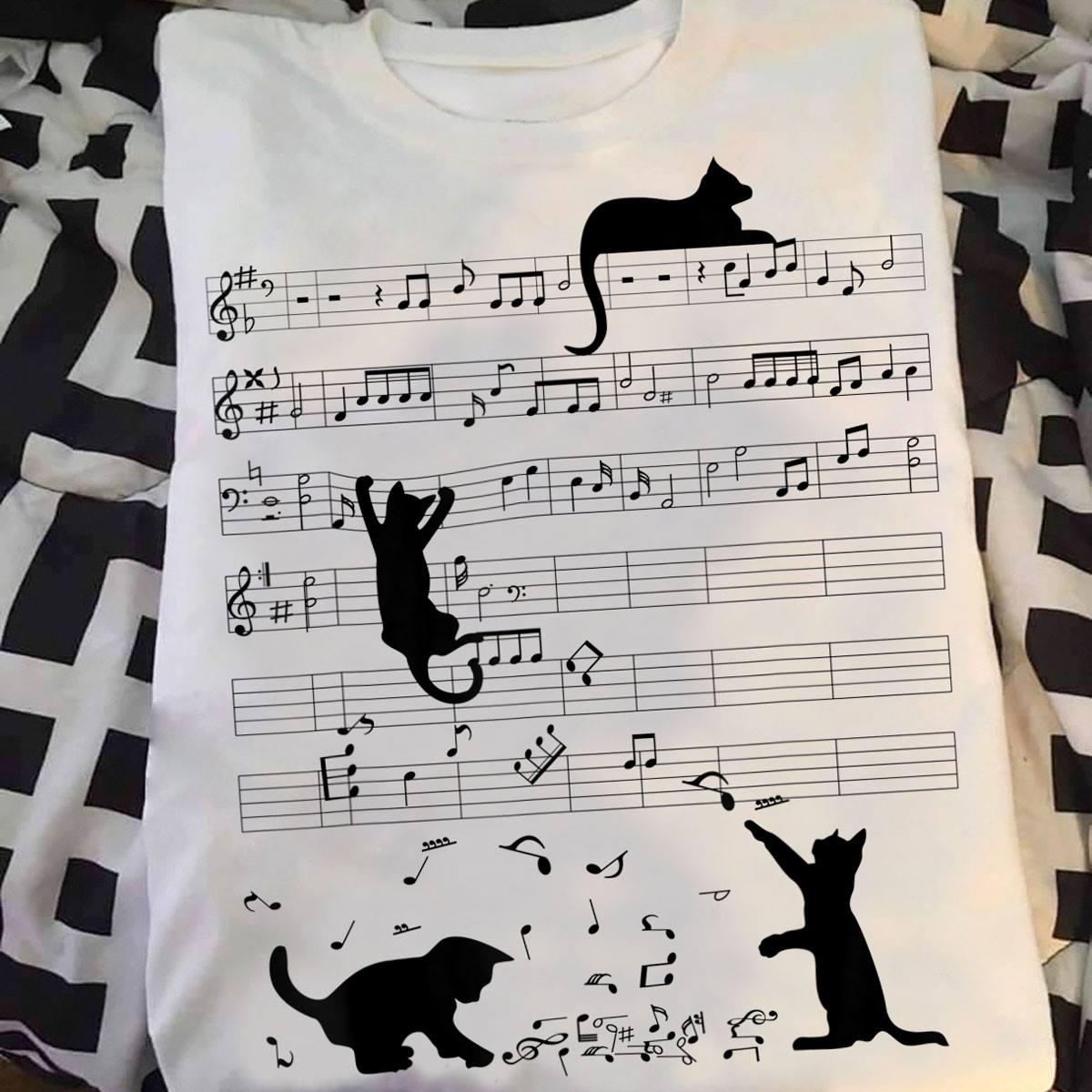 Funny Cat Shirt Black Cat Climbing Music Sheet