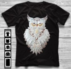 Horned Owl Shirt White Owl Feathers With Beads
