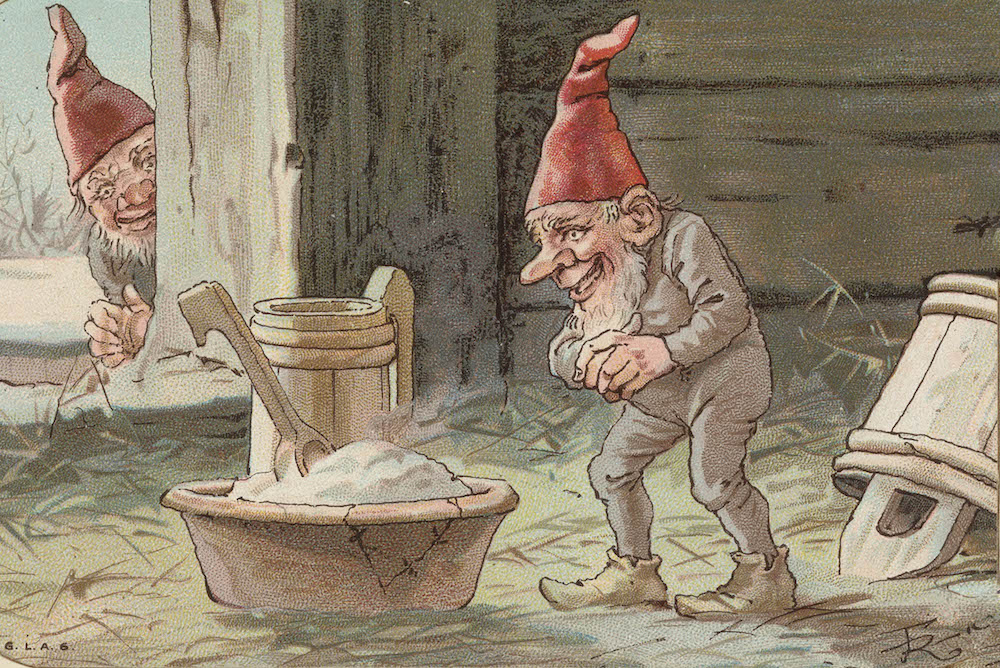 A Norwegian nisse ready to eat his Christmas porridge - skjemat - in the barn. Hopefully, he is willing to share. | Artwork: G.L.A.S. cc pdm.