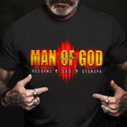 Man Of God Shirt Husband Dad Granpa Metal Barbed Wire
