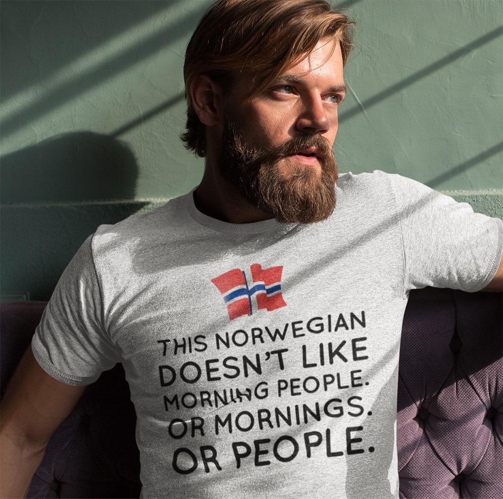 Norwegian Shirt Doesn't Like Morning People Norway Flag