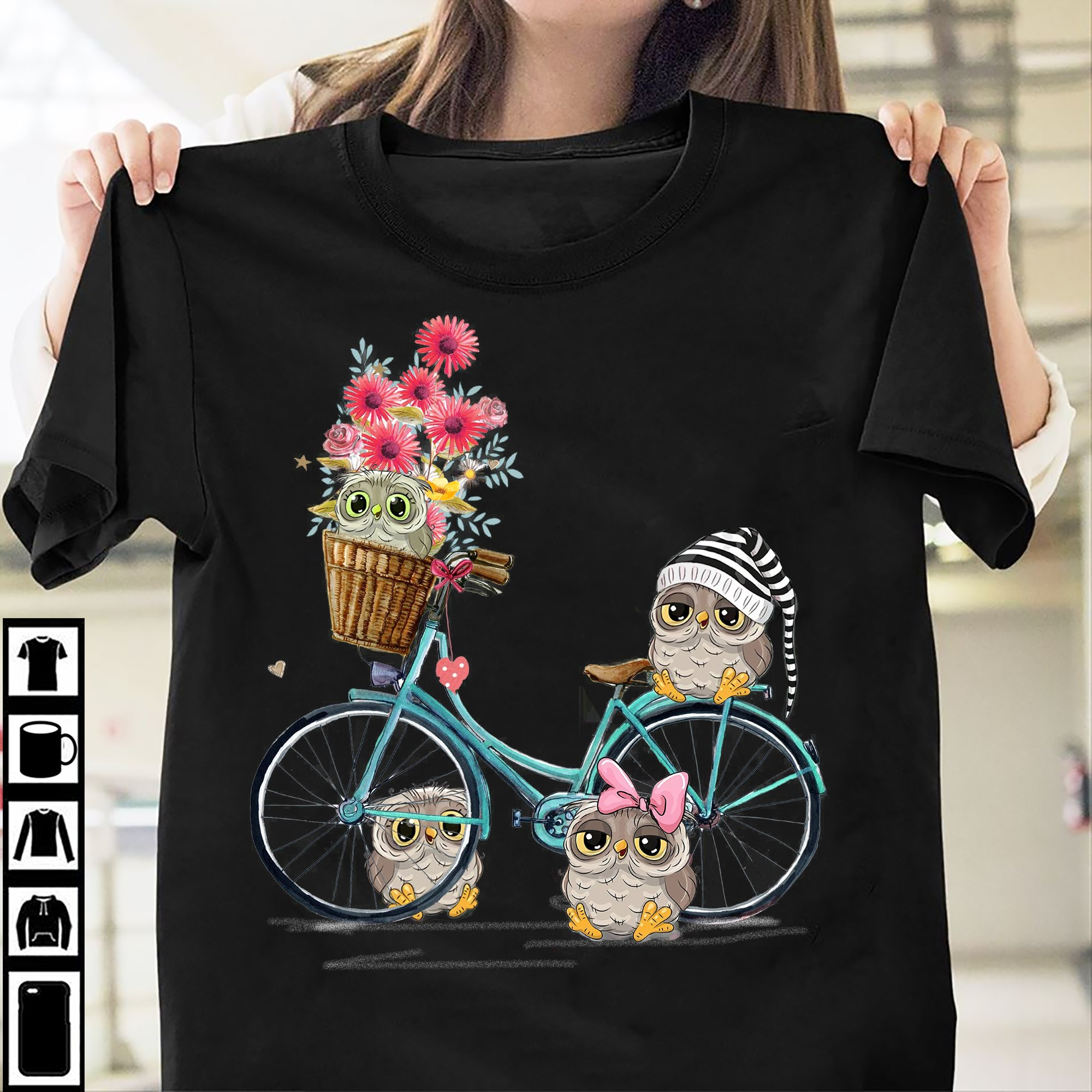 Owl Shirt Daisy Flowers Owls Sitting On The Bicycle