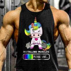 Unicorn Shirt Installing Muscle Please Wait Gym Fitness