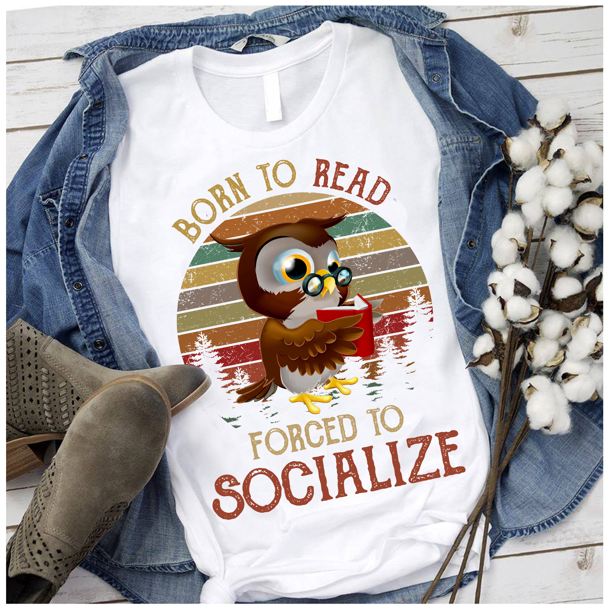 Vintage Owl Shirt Born To Read Forced To Socialize