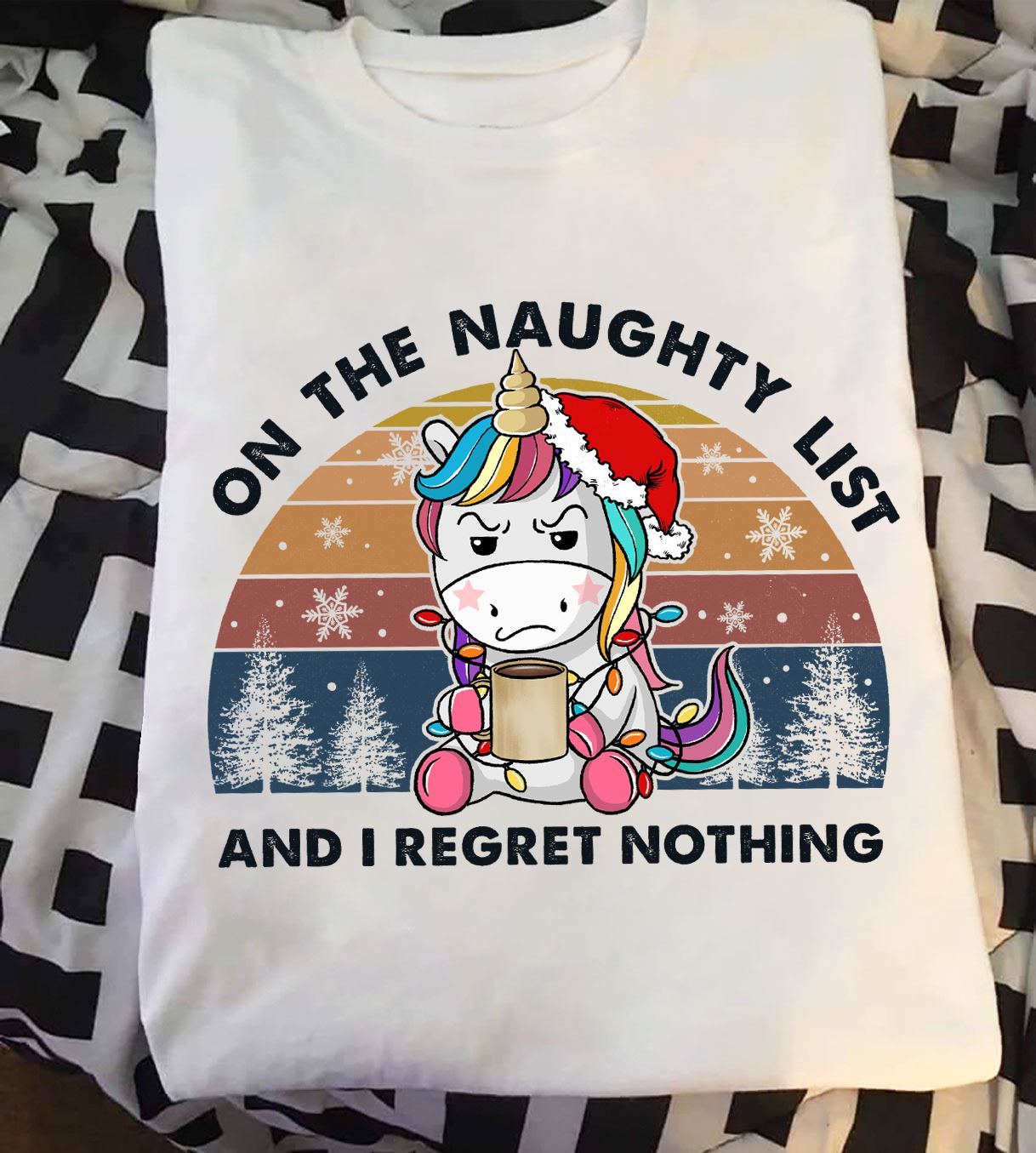Vintage Unicorn Shirt In The Naughty List I Regret Nothing