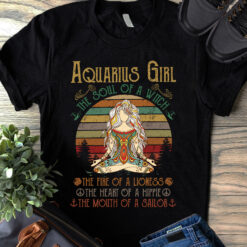 Yoga Aquarius Girl Shirt The Soul Of A Witch Vintage