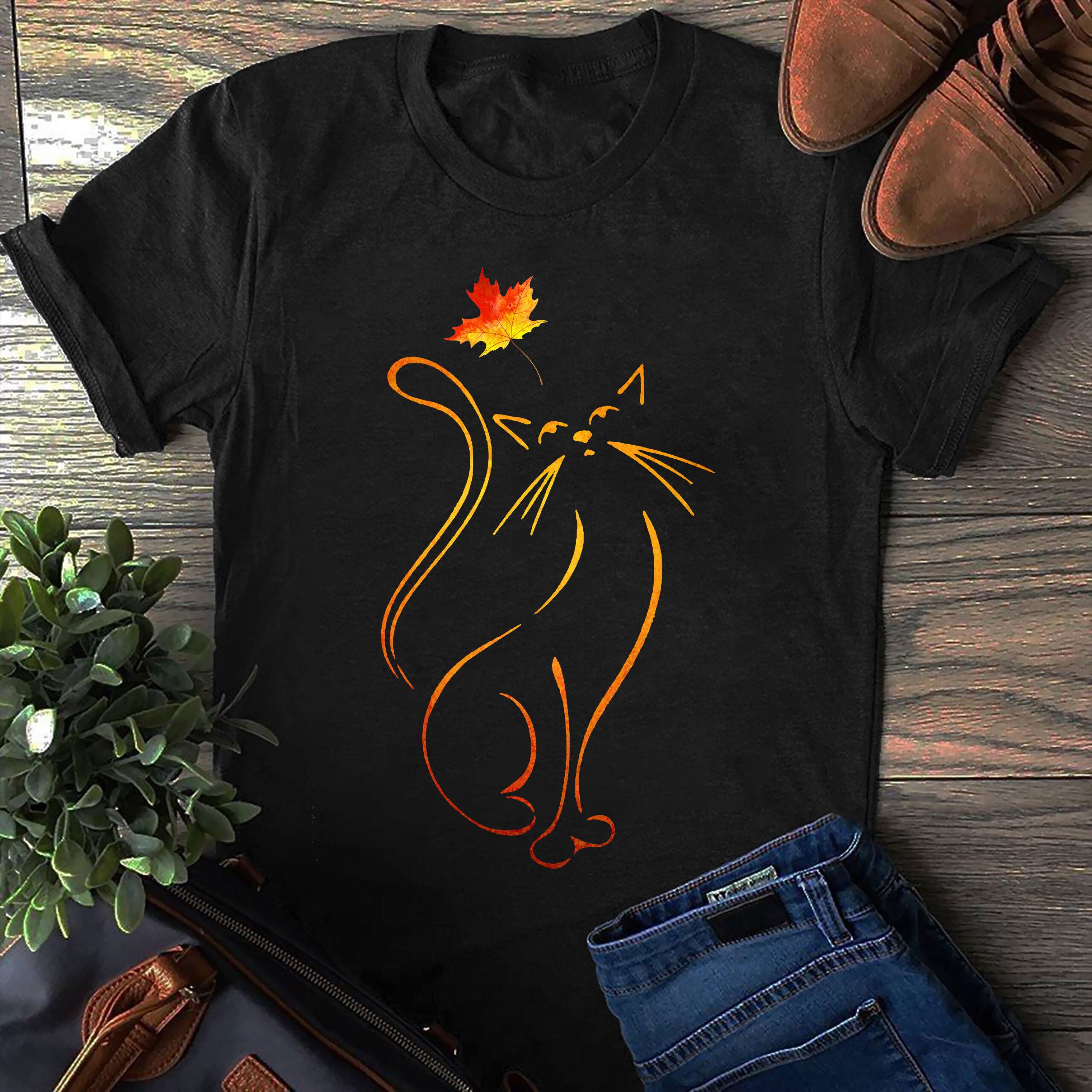 Autumn Cat Shirt Cat Maple Leaf