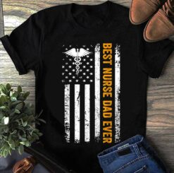 Best Nurse Dad Shirt American Flag Caduceus