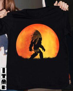 Big Foot Shirt Bigfoot Native Under The Red Moon