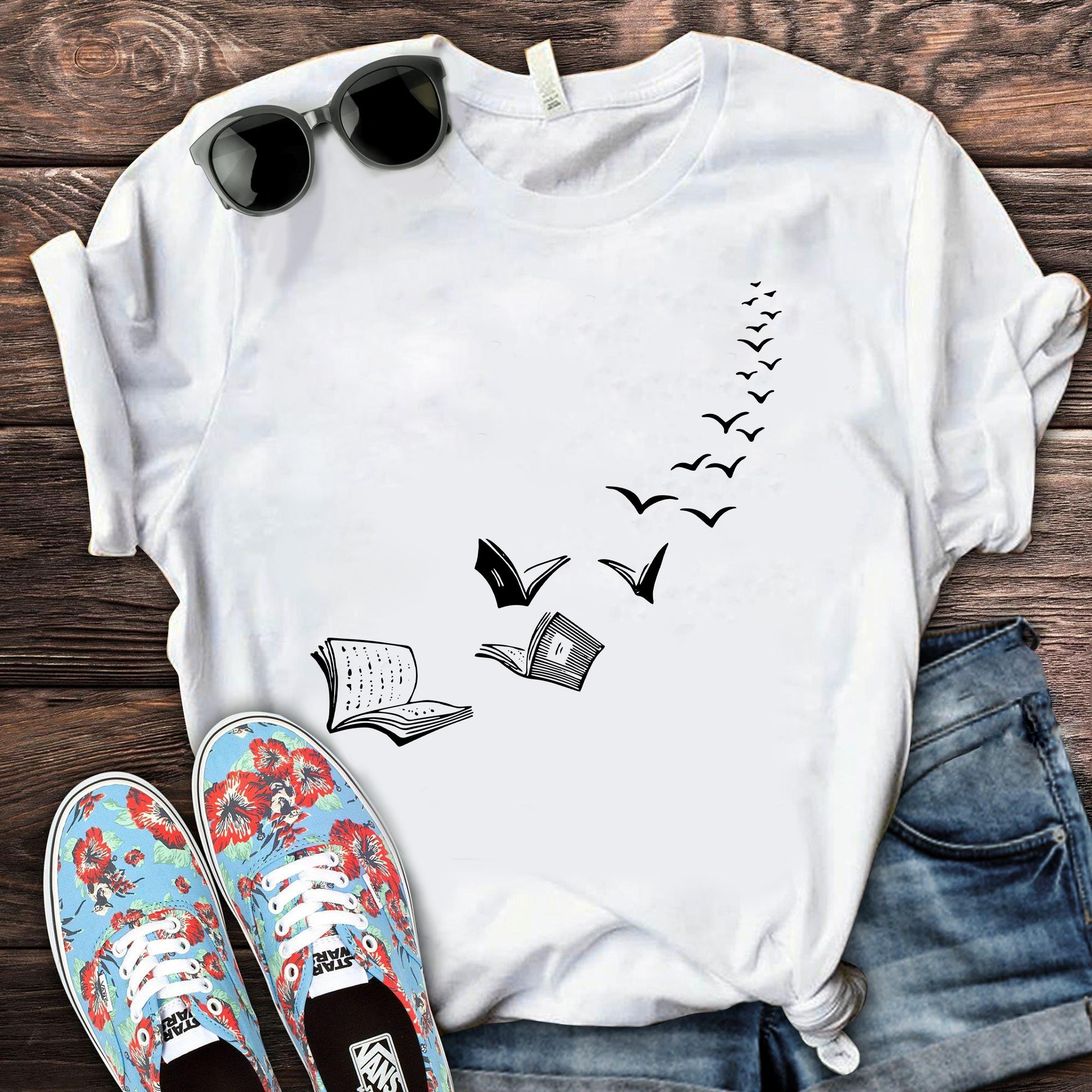 Book Shirt Birds Flying