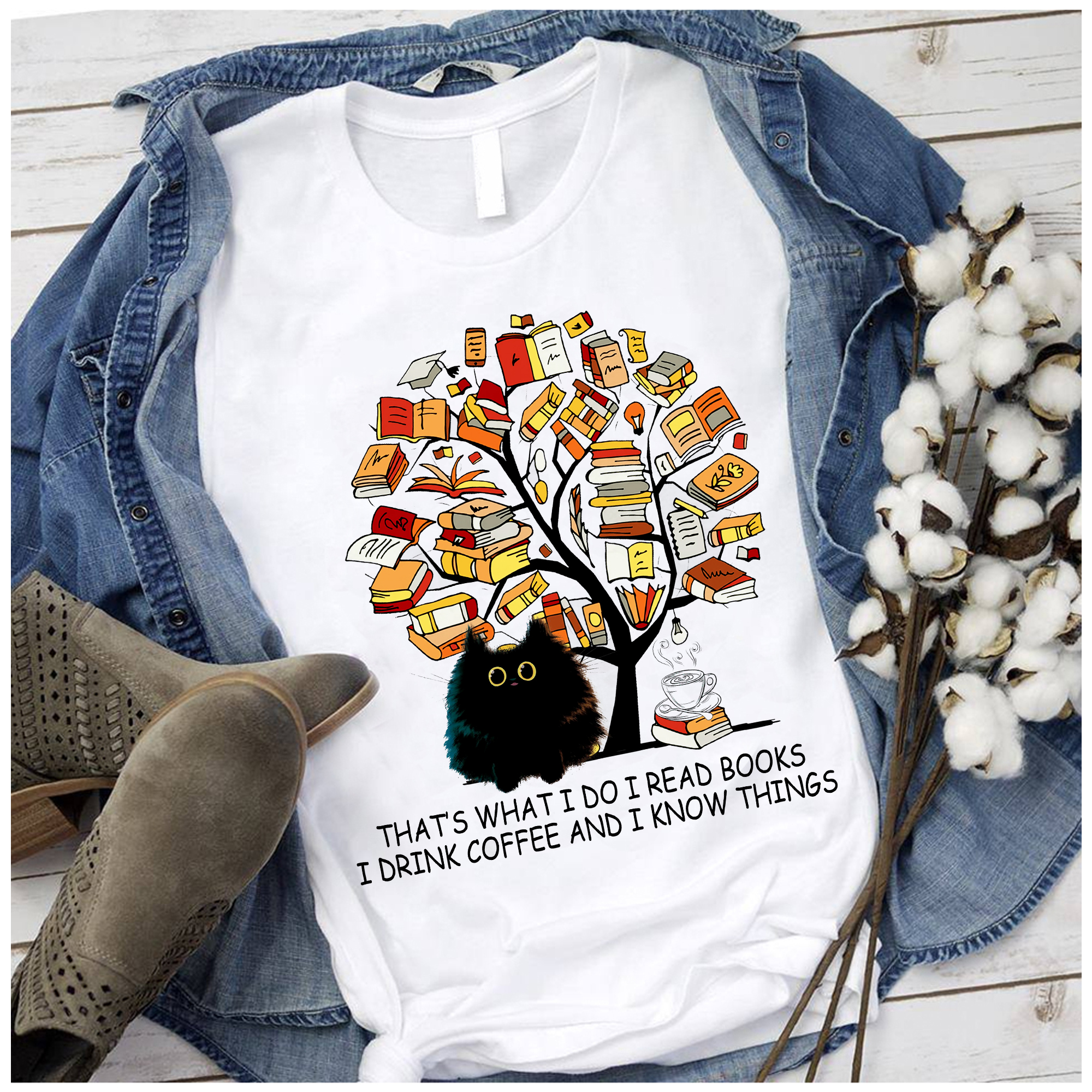 Book Shirt Cat Read Books Drink Coffee Know Things