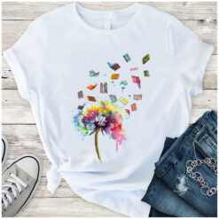 Book Shirt Watercolor Dandelion Books Fly