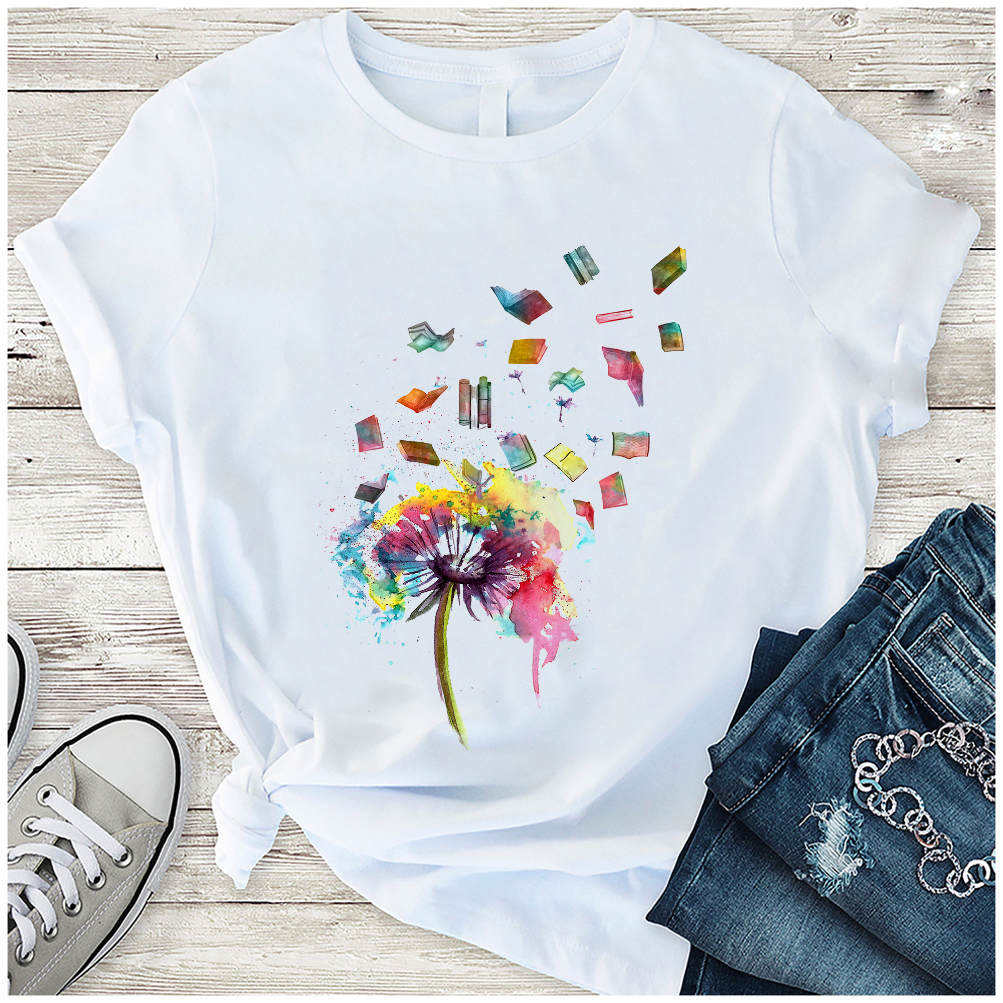 Book Shirt Watercolor Dandelion Books Fly
