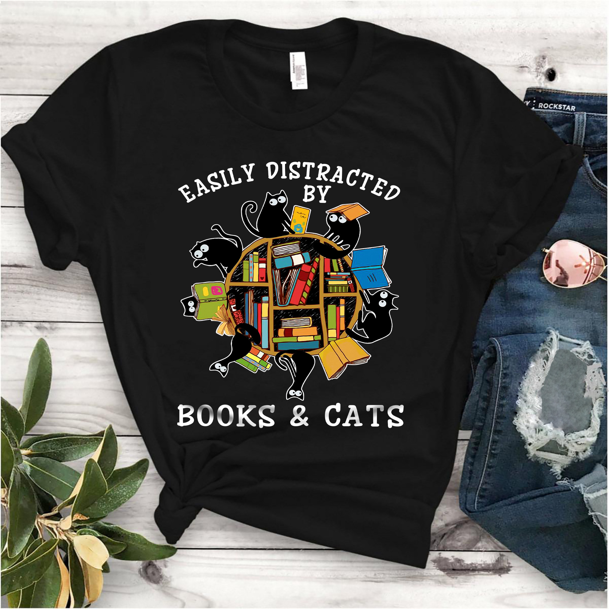Book Shirt Easily Distracted By Cats And Books
