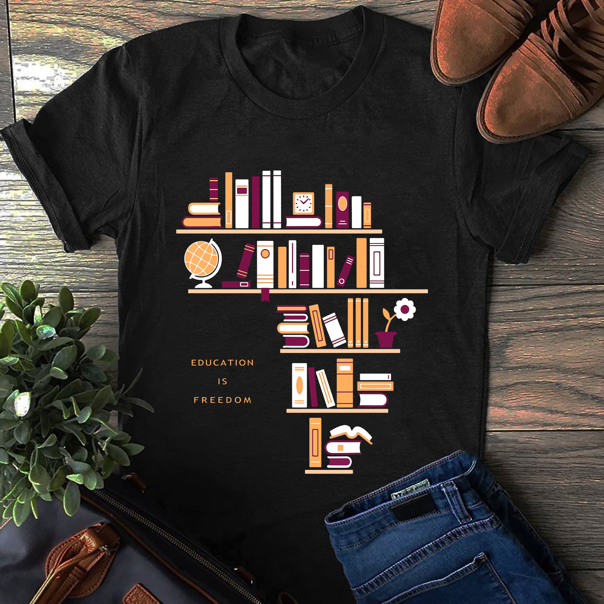 Book Shirt Education Is Freedom Bookshelf Africa Shape