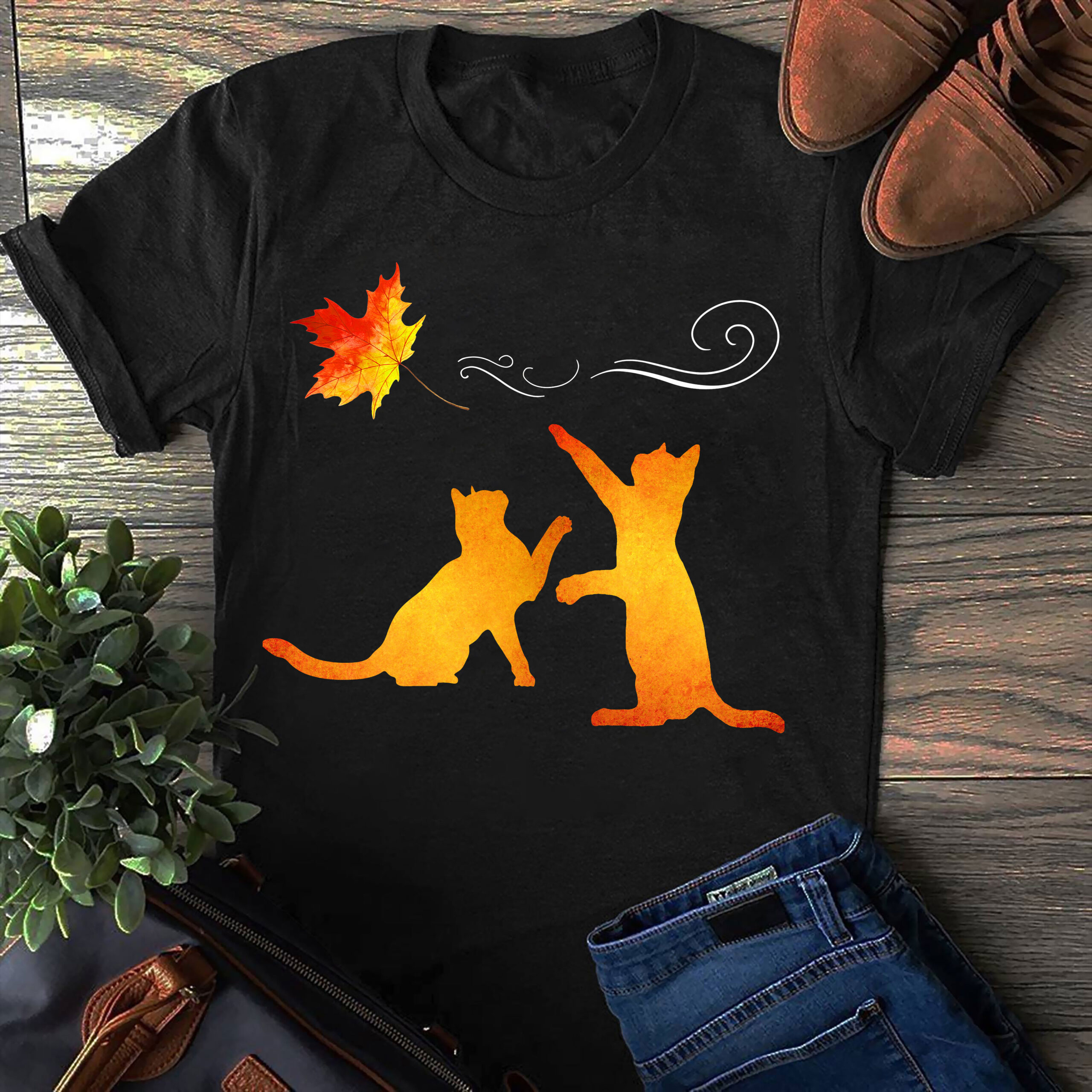 Cat Shirt Cats Play Maple Leaf
