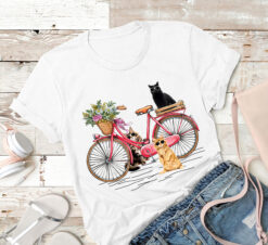Cat Shirt Cats Riding Bicycle Flowers
