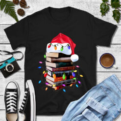 Christmas Book Shirt Santa Hat