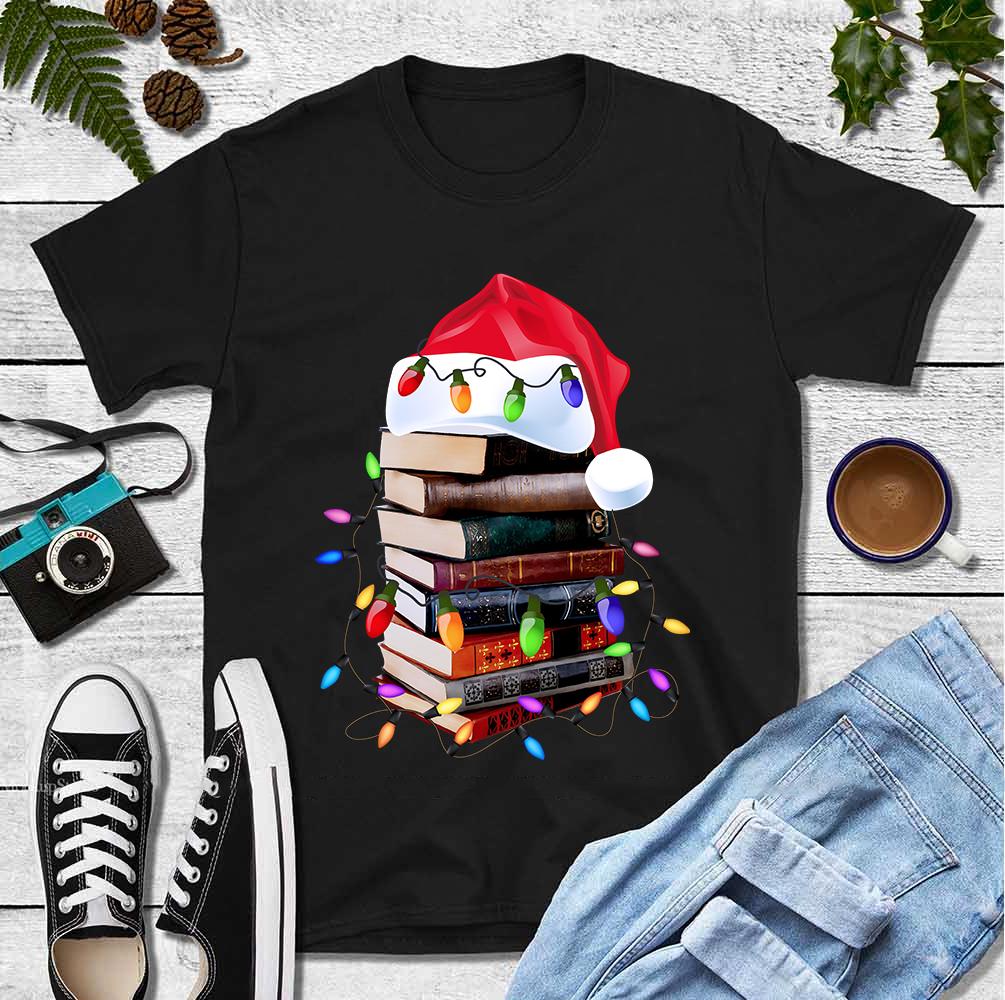 Christmas Book Shirt Santa Hat