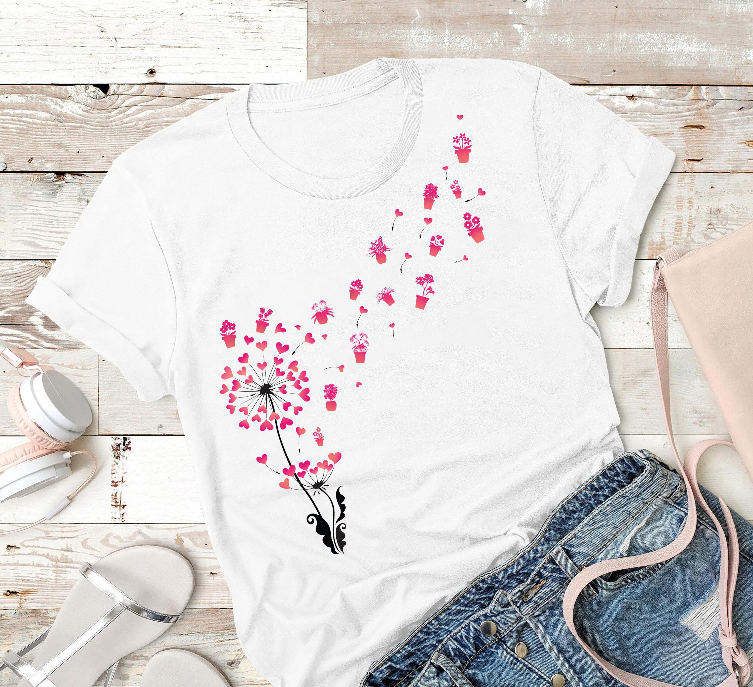 Dandelion Garden Shirt Heart Flower
