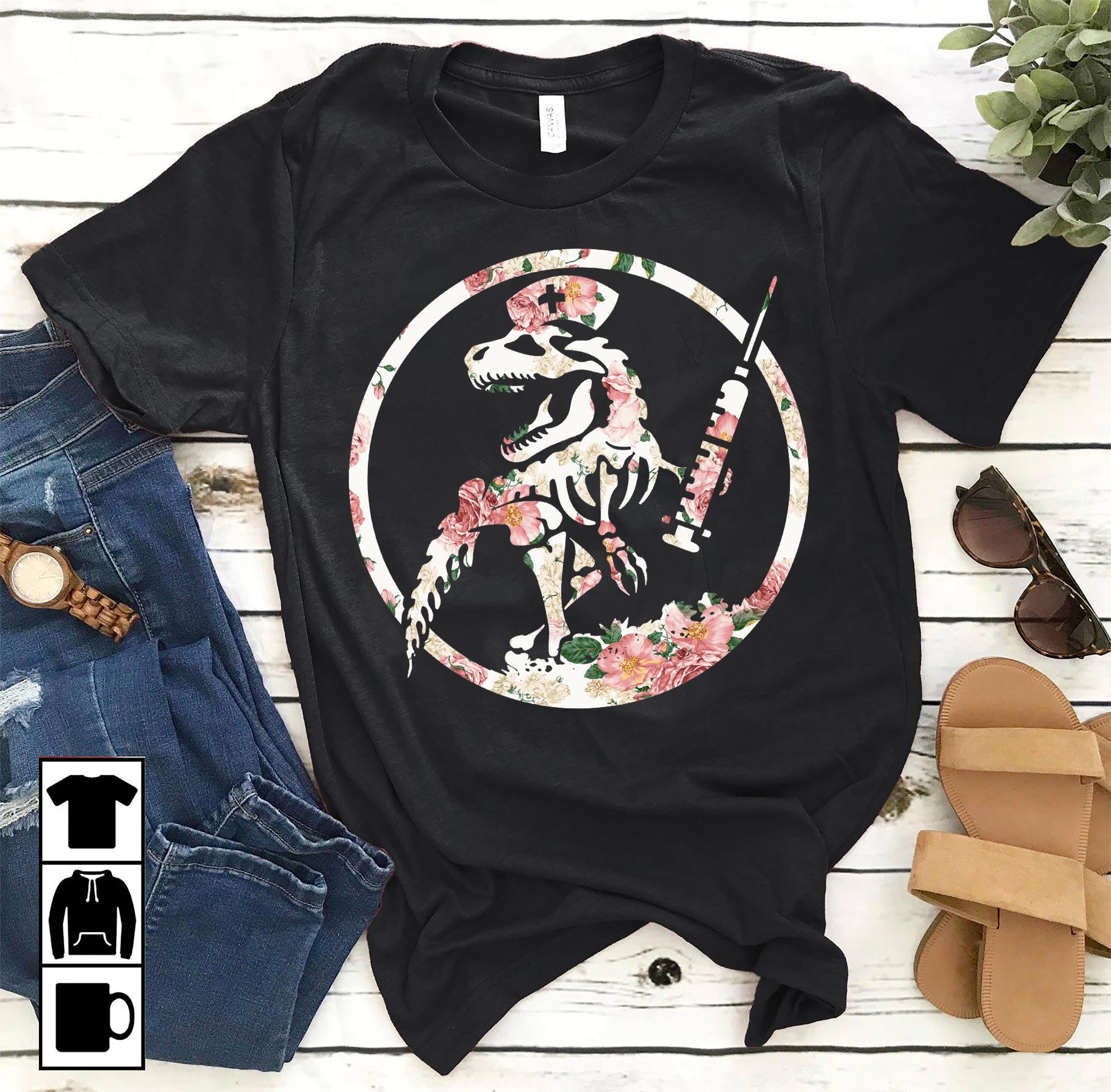 Dinosaur Nurse Shirt Flower Nursesaurus T rex