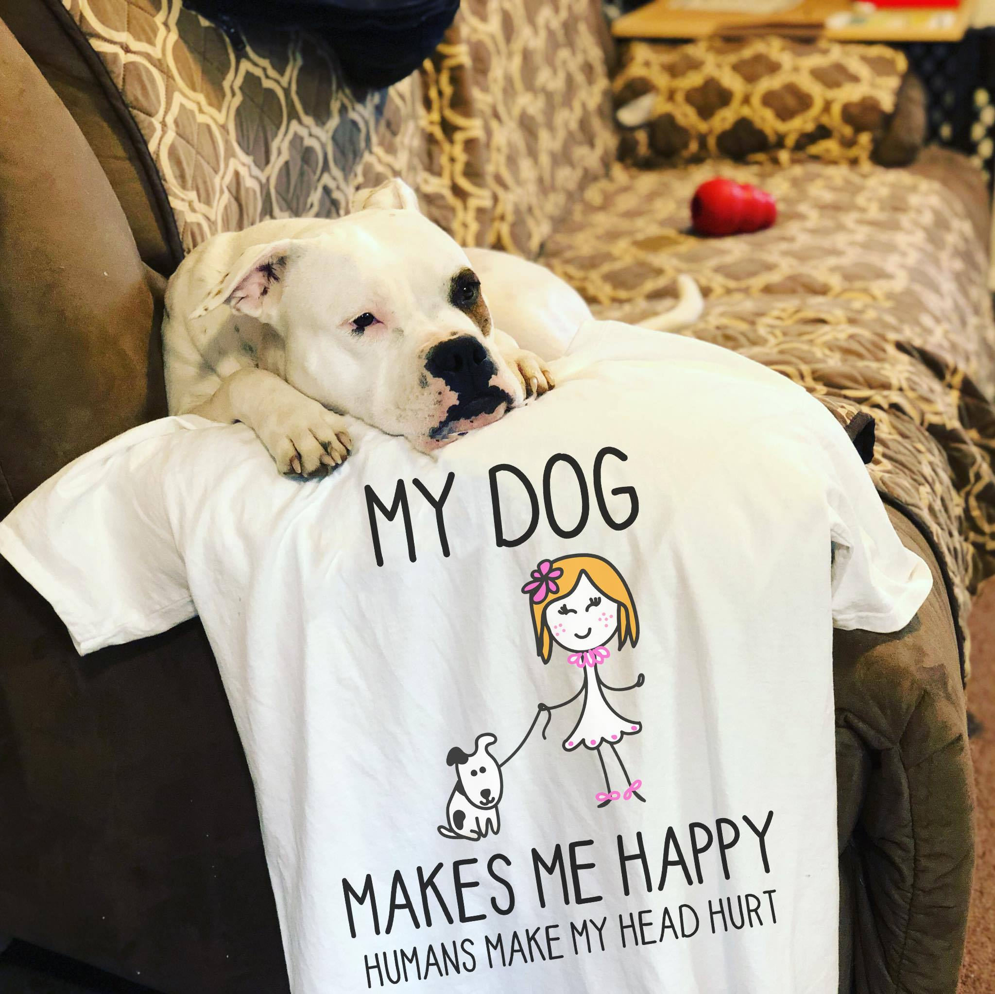 Dog Shirt Dogs Make Me Happy Girl Walking Dog
