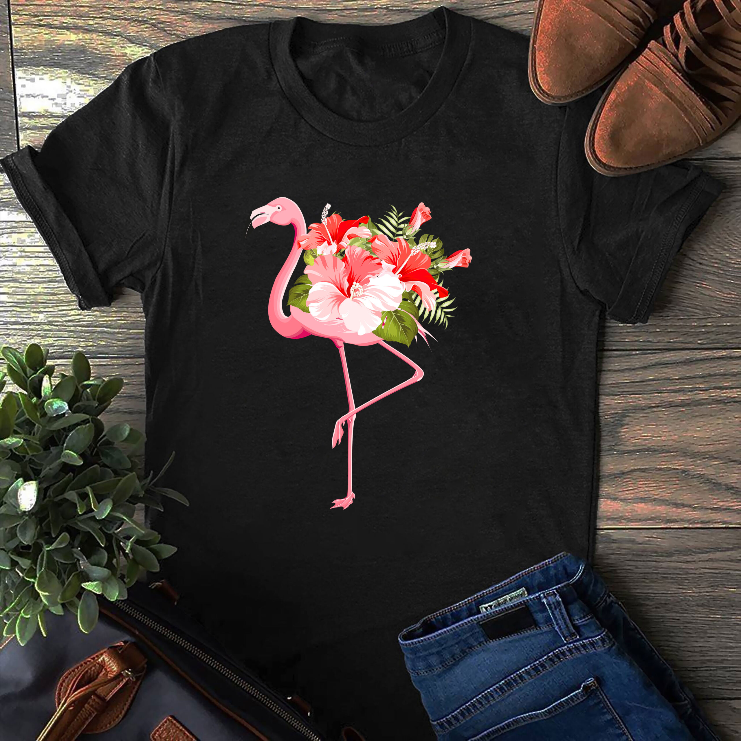 Flamingo Garden Shirt Flamingo Flower