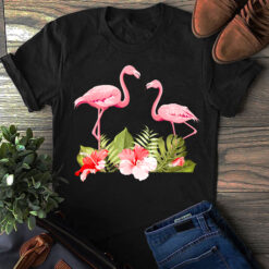 Garden Shirt Flamingo Hibiscus Flowers