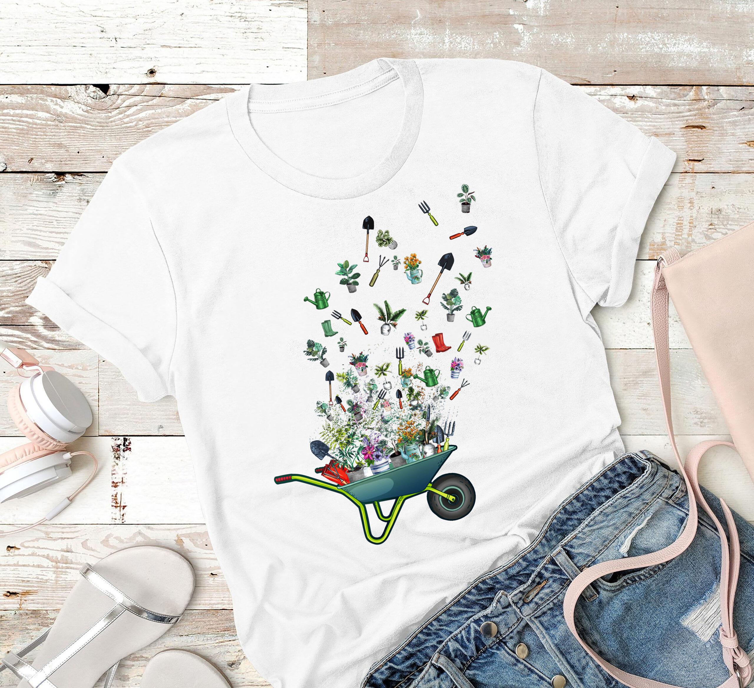 Gardener Shirt Wheelbarrow Gardening Tools Flying
