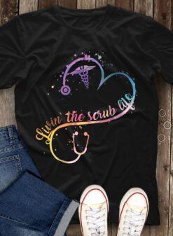 Living The Scrub Life Shirt Stethoscope Caduceus
