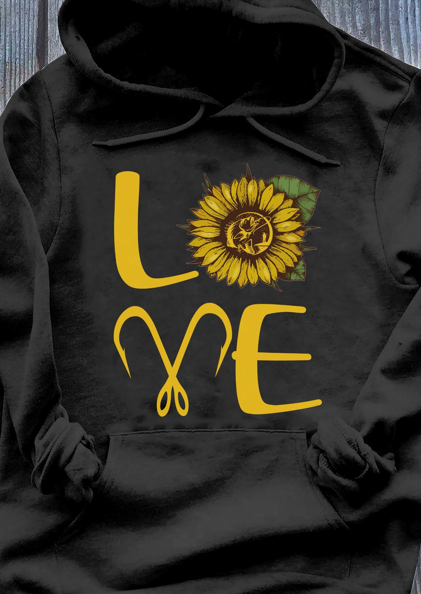 Love Sunflower Fishing Hook Shirt