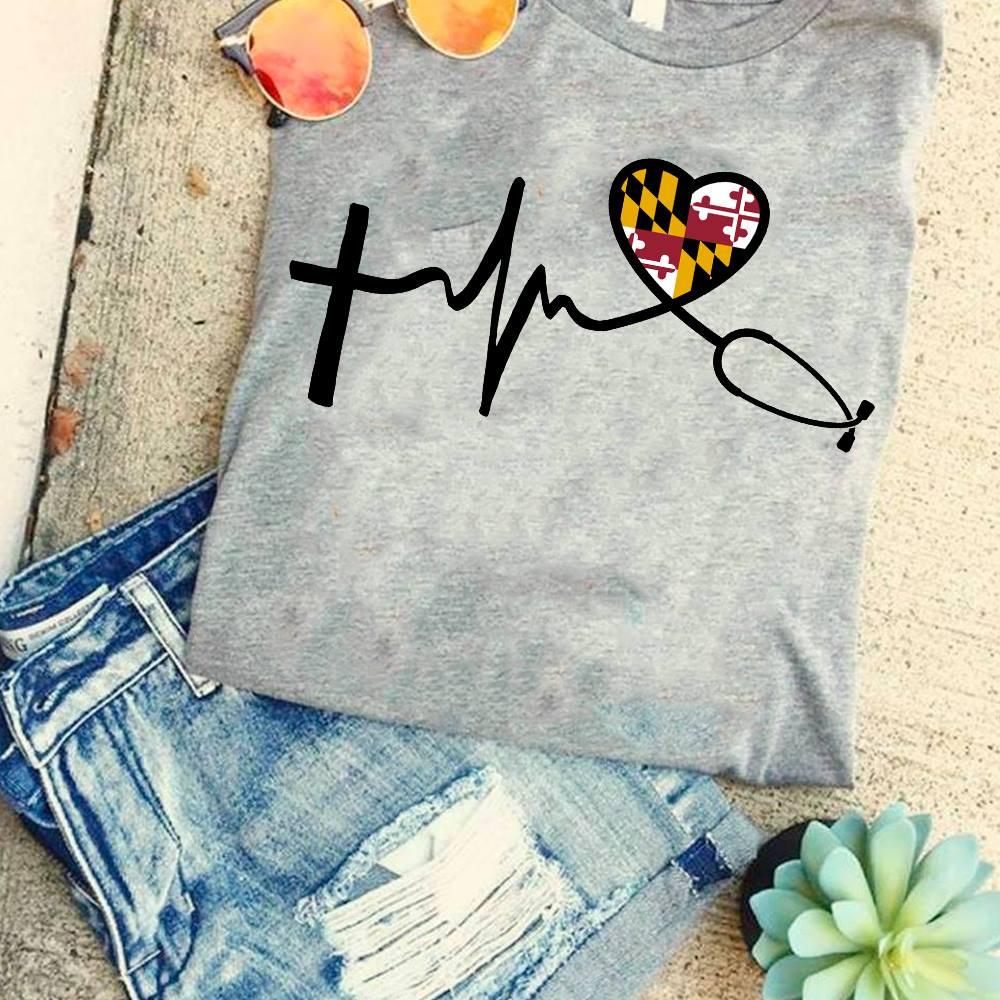 Maryland Nurse Shirt Heartbeat Stethoscope