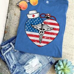 Nurse Shirt American Flag Heart