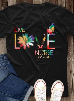 Nurse Shirt Live Love Nurse Butterfly Caduceus