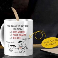 Personalized Nice Butt Mug Good Morning You're Amazing mockup