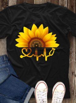Sunflower Nurse Shirt Stethoscope Nurse Hat