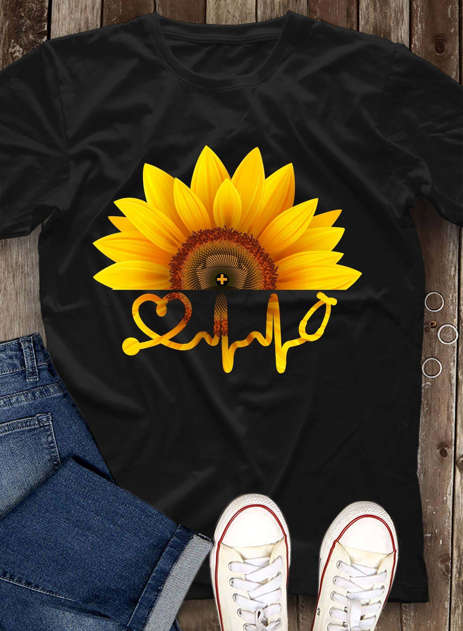 Sunflower Nurse Shirt Stethoscope Nurse Hat