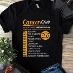 Cancer Facts 1 Awesome Zodiac Sign Shirt