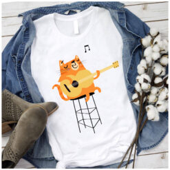Cat Playing Guitar Shirt